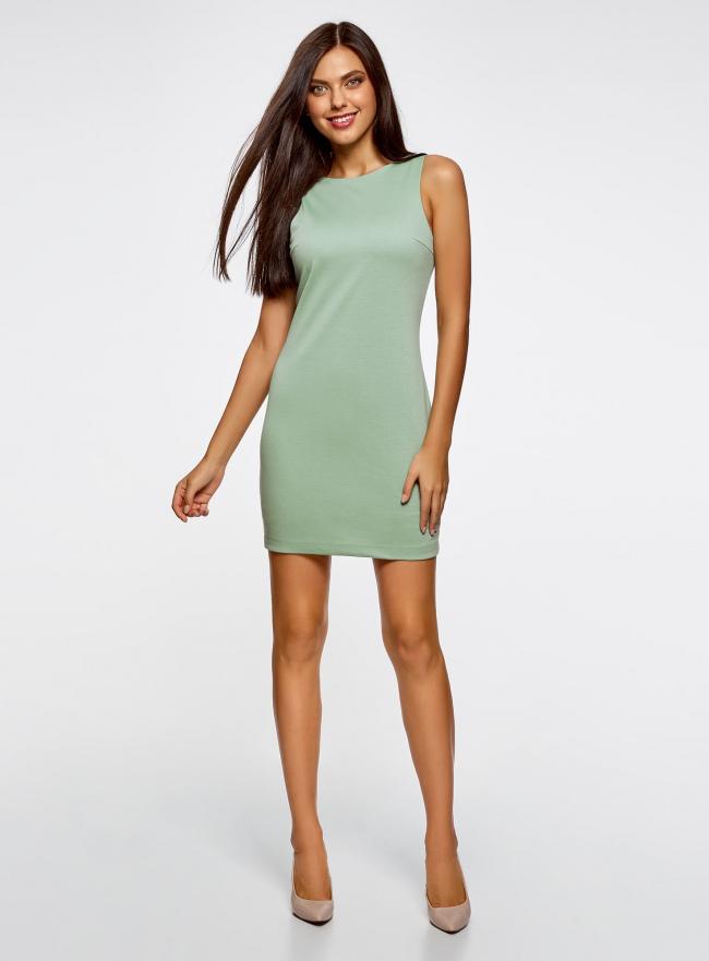 Платье трикотажное с глубоким вырезом на спине oodji для женщины (зеленый), 14005128/18110/6500N