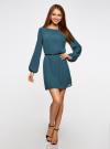 Платье из шифона с ремнем oodji для женщины (зеленый), 11900150-5B/32823/6C00N - вид 2