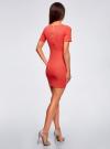Платье прилегающего силуэта в рубчик oodji #SECTION_NAME# (красный), 14011012/45210/4300N - вид 3