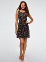 Платье из струящейся ткани с бантом на спине oodji #SECTION_NAME# (черный), 11900181-2B/35271/2941F - вид 2