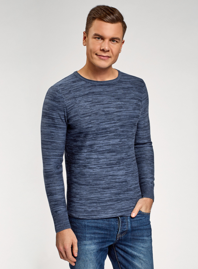 Джемпер меланжевый с круглым вырезом oodji для мужчины (синий), 4L112159M/46230N/7800M