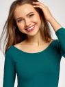 Платье облегающее с вырезом-лодочкой oodji #SECTION_NAME# (зеленый), 14017001-6B/47420/6E00N - вид 4