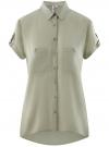 Блузка из вискозы с нагрудными карманами oodji #SECTION_NAME# (зеленый), 11400391-5B/48756/6000N