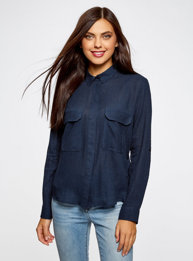 Рубашка в мелкую графику с карманами oodji #SECTION_NAME# (синий), 21441095/43671/7529G
