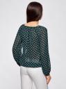 Блузка принтованная с завязками oodji #SECTION_NAME# (зеленый), 21418013-2/17358/6912D - вид 3