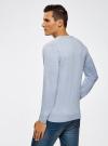 Пуловер с хлопковой вставкой на груди oodji #SECTION_NAME# (синий), 4B212006M/39245N/7010B - вид 3