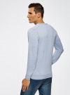 Пуловер с хлопковой вставкой на груди oodji для мужчины (синий), 4B212006M/39245N/7010B - вид 3