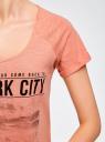 Футболка хлопковая с городским принтом oodji для женщины (розовый), 14707004-2/45518/4323P