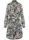 Платье из струящейся ткани с поясом oodji для женщины (зеленый), 11911037/17358/6641F