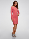 Платье трикотажное облегающего силуэта oodji #SECTION_NAME# (розовый), 14001183B/46148/4100N - вид 6