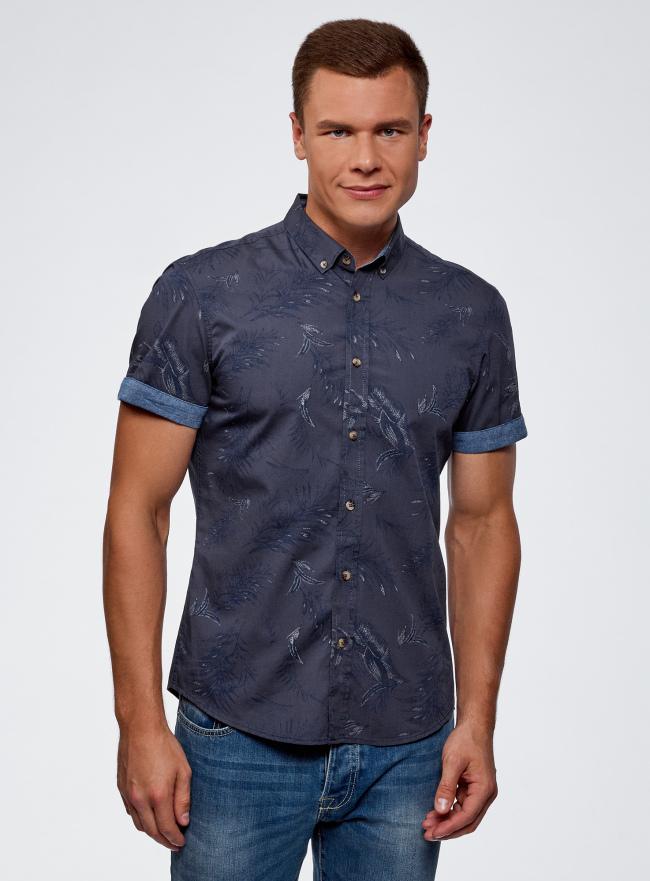 Рубашка хлопковая принтованная oodji для мужчины (синий), 3L410120M/48244N/7579F