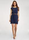 Платье вискозное без рукавов oodji #SECTION_NAME# (синий), 11910073B/26346/7900N - вид 2