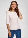 Джемпер в резинку с вырезом-лодочкой oodji для женщины (белый), 73812596-1B/45647/1200M