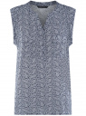 Блузка с короткими рукавами и нагрудными карманами oodji #SECTION_NAME# (синий), 21412132-2B/24681/7912E