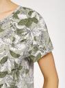 Блузка свободного силуэта с вырезом-капелькой на спине oodji для женщины (зеленый), 11411138-2B/42540/6212O
