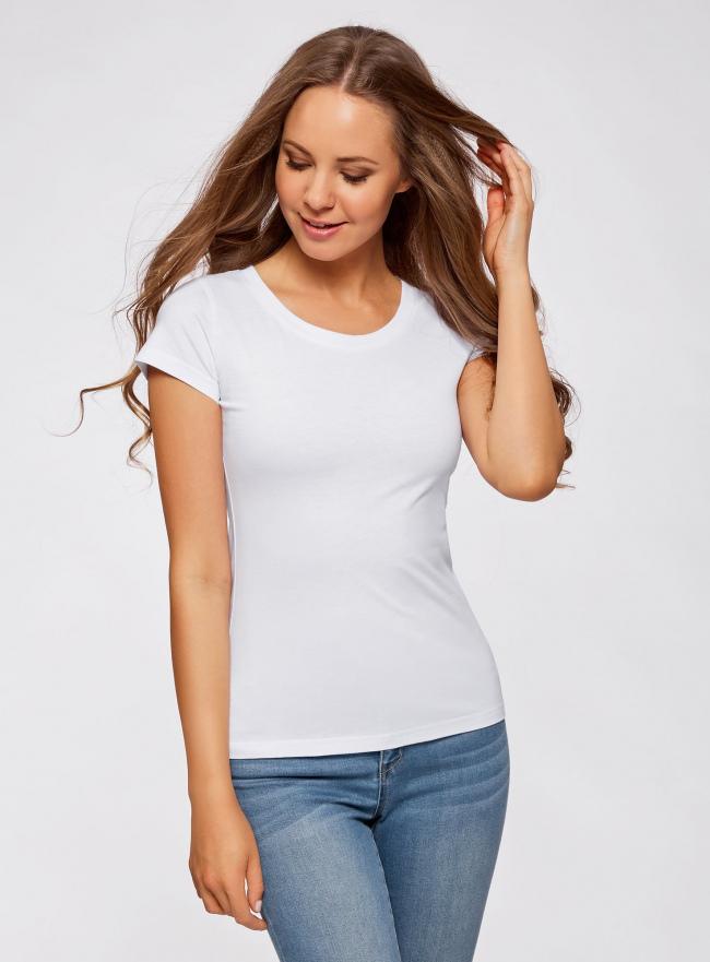 Комплект из двух базовых футболок oodji для женщины (белый), 14701008T2/46154/1000N