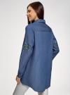 Рубашка джинсовая с вышивкой oodji #SECTION_NAME# (синий), 16A09009/42706/7900P - вид 3
