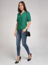 Блузка вискозная с рукавом-трансформером 3/4 oodji #SECTION_NAME# (зеленый), 11403189-2B/26346/6E00N - вид 5