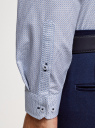 Рубашка хлопковая в мелкую графику oodji #SECTION_NAME# (белый), 3L110374M/19370N/1079G - вид 5