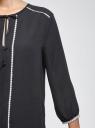 Блузка прямая с декоративной отделкой на груди oodji #SECTION_NAME# (синий), 11411147/36215/7900N - вид 5