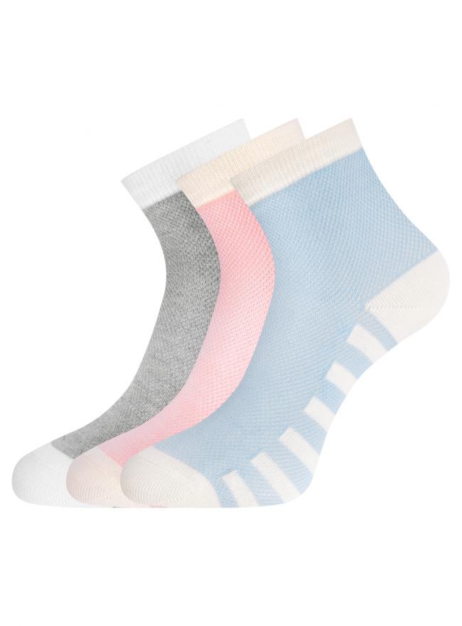 Комплект из трех пар хлопковых носков oodji для женщины (разноцветный), 57102711T3/48022/16
