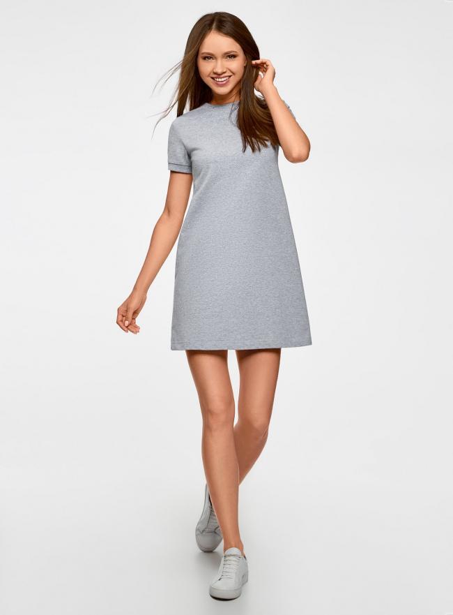 Платье трикотажное свободного силуэта oodji для женщины (серый), 14000162B/47481/2000M