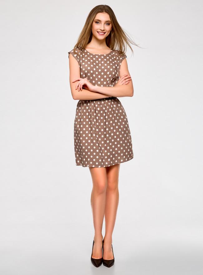 Платье принтованное из вискозы oodji для женщины (бежевый), 11910073-2/45470/3312D