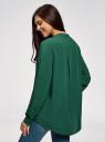 Блузка вискозная А-образного силуэта oodji #SECTION_NAME# (зеленый), 21411113B/42540/6E01N - вид 3