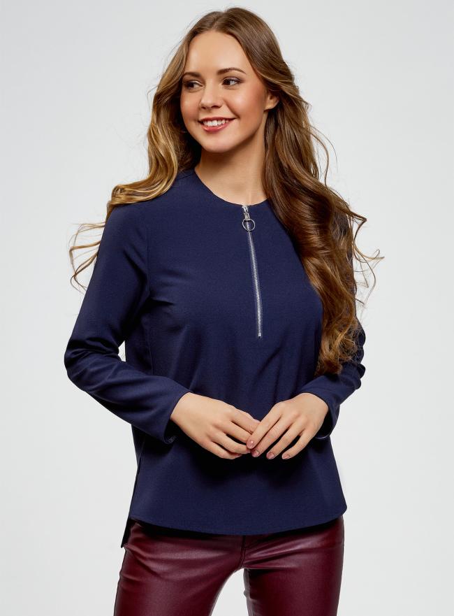 Блузка из плотной ткани c молнией oodji для женщины (синий), 21400372/42888/7900N