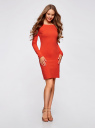 Платье трикотажное облегающего силуэта oodji для женщины (красный), 14001183B/46148/4500N