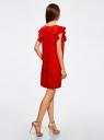 Платье с рукавами-крылышками и украшением на горловине oodji #SECTION_NAME# (красный), 21909002/42720/4500N - вид 3