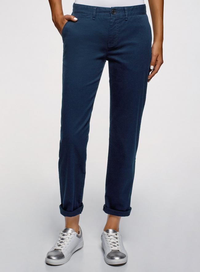 Брюки-чиносы из хлопка oodji для женщины (синий), 11706210/48500/7900N