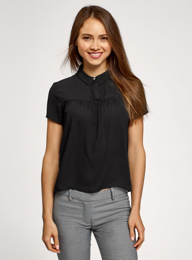 Блузка с коротким рукавом oodji #SECTION_NAME# (черный), 11400427/36215/2900N