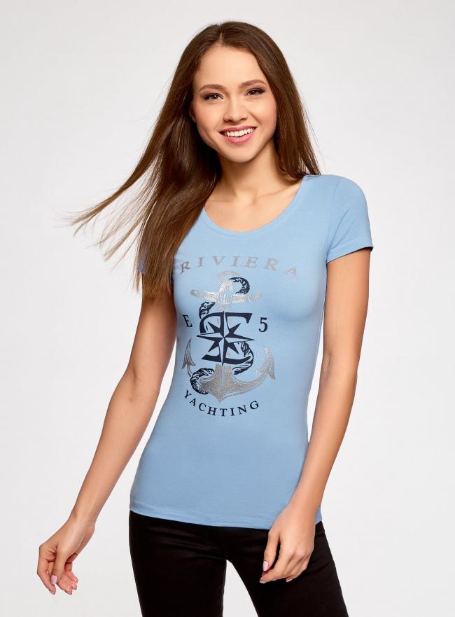 Футболка с принтом в морском стиле oodji для женщины (синий), 14701005-12/46147/7091P
