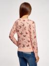 Свитшот принтованный с круглым вырезом oodji для женщины (розовый), 14807021-1/46919/5435O - вид 3