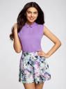 Блузка базовая без рукавов с воротником oodji #SECTION_NAME# (фиолетовый), 11411084B/43414/4C00N - вид 2