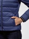 Куртка с трикотажными манжетами и воротником-стойкой oodji #SECTION_NAME# (синий), 10204056/47172/7800N - вид 5