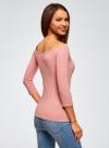 Футболка с рукавом 3/4 и открытыми плечами oodji для женщины (розовый), 14207007B/46867/4100M - вид 3