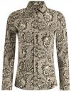 Рубашка приталенная принтованная oodji #SECTION_NAME# (бежевый), 21402212/14885/2930E