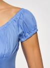 Платье хлопковое со сборками на груди oodji #SECTION_NAME# (синий), 11902047-2B/14885/7503N - вид 5