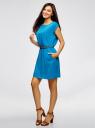Платье вискозное без рукавов oodji #SECTION_NAME# (синий), 11910073B/26346/7500N - вид 6