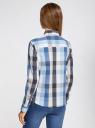 Блузка клетчатая прямого силуэта oodji #SECTION_NAME# (синий), 11411131/46090/7523C - вид 3