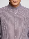 Рубашка приталенного силуэта в мелкую клетку oodji #SECTION_NAME# (фиолетовый), 3B110006M/25416N/1049C - вид 4