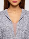Кардиган меланжевый с капюшоном oodji #SECTION_NAME# (серый), 63207195/48106/1225M - вид 4