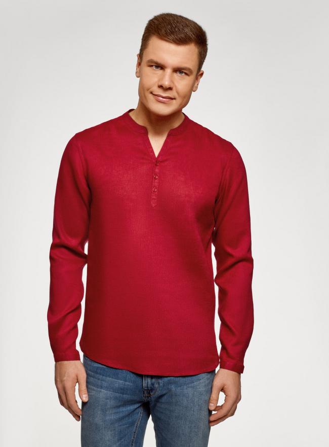 Рубашка льняная без воротника oodji #SECTION_NAME# (красный), 3B320002M/21155N/4500N
