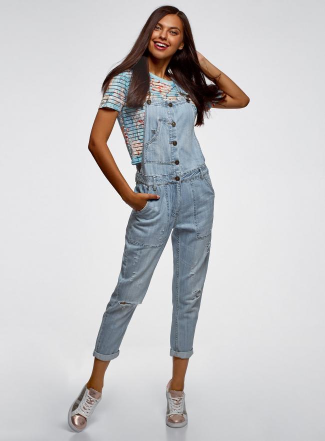 Комбинезон джинсовый на пуговицах oodji для женщины (синий), 13108003-1/42559/7000W