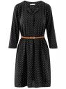 Платье вискозное с ремнем oodji для женщины (черный), 11900180B/48458/2910D
