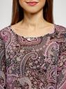 Блузка принтованная из шифона oodji #SECTION_NAME# (розовый), 21404007/15018/2341E - вид 4
