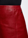 Юбка-трапеция из искусственной кожи oodji для женщины (красный), 18H05006/46534/4900N