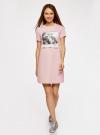 Платье свободного силуэта из фактурной ткани oodji #SECTION_NAME# (розовый), 14000162-7/47481/4019P - вид 2